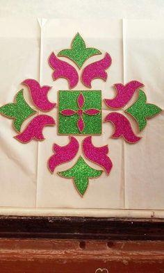 Rangoli Foam Sheet Crafts, Foam Crafts, Diy And Crafts, Crafts For Kids, Arts And Crafts, Paper Crafts, Thali Decoration Ideas, Diy Diwali Decorations, Festival Decorations