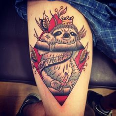 old school sloth tattoo by Rique Corner! Solid Heart Tattoo Viersen! #sloth #oldschool #tattoo #king #sex #traditional