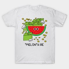 Shop MELONaire melon t-shirts designed by adrianserghie as well as other melon merchandise at TeePublic. Classic T Shirts, Graphic Tees, Shirt Designs, Unisex, Fabric, Cotton, Mens Tops, Shopping, Fashion