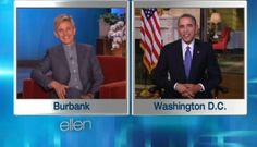 """President Obama checked in with Ellen Degeneres Thursday, chatting with the comedian about """"House of Cards,"""" Obamacare and life in the White House.  Ellen - you've been off my list for quite a while.  I cannot believe POTUS is now working the talk shows like a B grade comedian.  Everyone know BO's taped a Playboy interview?  THIS IS NOT FUNNY, BO.  YOU SUCK."""