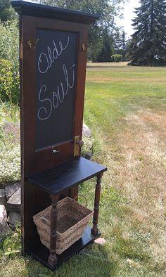 Door Chalkboard Hall Tree. Repurposed antique vintage furniture.