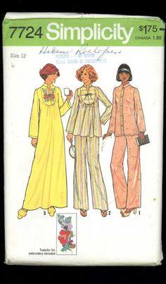Simplicity 7724 Vintage 1970s Sewing by ThreadandBrushStudio