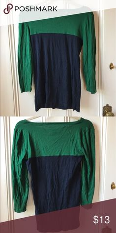 J. Crew Colorblock T-Shirt Green & navy, 3/4 sleeve, very comfortable, good condition J. Crew Tops