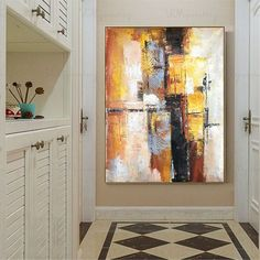 Gold art Original Abstract painting on canvas acrylic wall art pictures for living room home wall decor thick texture orange blue decoration, Acrylic Wall Art, Acrylic Painting Canvas, Canvas Wall Art, Colorful Wall Art, Large Wall Art, Diy Wall Art, Wall Decor, Gold Art, Wall Art Pictures