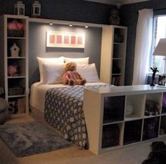 Add some lighting above the head board and shelves all around the bed! Great idea for a young girls room!