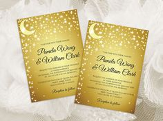 DIY Printable Wedding Invitation Card Template | Editable MS Word file | 5 x 7 | Instant Download | 5 point Moon Star Gold Background