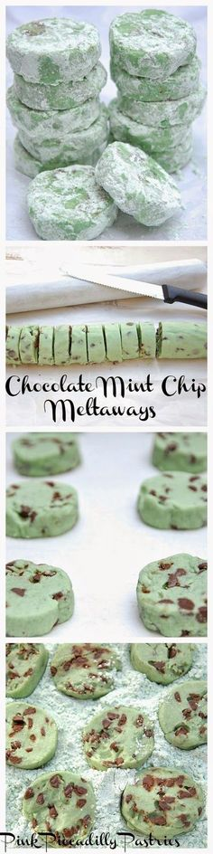 Pink Piccadilly Pastries: Chocolate Mint Chip Meltaways. This recipe uses Duncan Hines frosting flavoring but I tthink I would try with mint extract instead