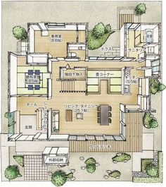1階平面図間取り Japan House Design, Sims House Design, Japanese Modern House, Japanese Interior, Sims Building, Building A House, Minimal House Design, Interior Design Renderings, Asian House