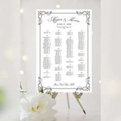 Wedding Seating Chart | Alphabetical | Various Sizes | Baroque Swirls | Any Color | Art Deco Border | I Create and You Print