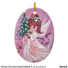 Vintage Christmas Angel Holding Tree