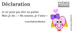 Poème pour enfants. Lucie Delarue-Mardus. Déclaration. Poèmes mignons. Avec dessin de coeur d'amour. New Years Eve Party, Improve Yourself, Charades, Fathers Day Poems