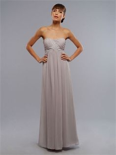 Column Strapless With Embroidery Light Grey Bridesmaid Dress BD0036 www.simpledresses.co.uk £101.0000