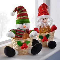 The Seasonal Aisle Snowman and Santa Basket Christmas Table Decoration Christmas Scenes, Christmas Elf, Christmas Stockings, Christmas Crafts, Christmas Ornaments, Christmas Snacks, Christmas Cupcakes, Christmas Baskets, Tabletop Christmas Tree