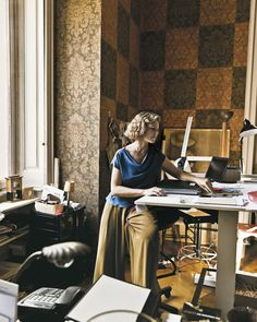 Rimini's office is papered in turn-of-the-century damask patterns, which have been cut into squares to form a checkerboard. Studio Peregalli.