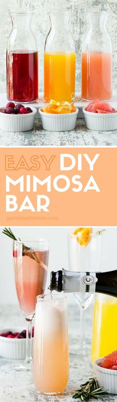 Let guests serve themselves at brunch with our tips for How to set up an Easy DIY Mimosa Bar!