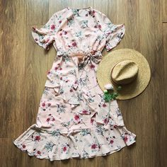 Belted Floral Ruffle Irregular Dress – The Other Sparrows Floral Print Fabric, Floral Prints, Retro Floral, Floral Tops, Girly Outfits, Fashion Outfits, Bell Sleeves, Cold Shoulder Dress, Chiffon