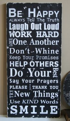 Family Rules Sign Version II - Typography Word Art
