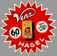 Vintage Ad for Hagelslag from Venz... They called it 'Chocolade Korrels' back then!