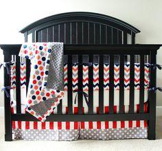 Bright and Funky Crib Bedding Set by NurseryRhymeDesigns on Etsy, $260.00