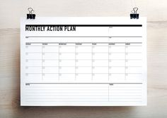 Printable Monthly Action Planner / Agenda (landscape)