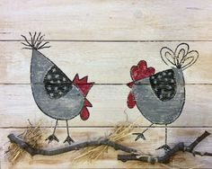 Pair of Chickens and Welcome Sign in Red Hand by barbsheartstrokes Chicken Painting, Painting On Wood, Painting & Drawing, Chicken Crafts, Chicken Art, Country Paintings, Happy Paintings, Tole Painting Patterns, Chickens And Roosters