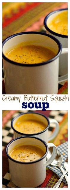 Butternut Squash Soup Creamy Butternut Squash Soup is the perfect soup, topped with fresh orange zest, to share with a friend or neighbor!Creamy Butternut Squash Soup is the perfect soup, topped with fresh orange zest, to share with a friend or neighbor! Baked Butternut Squash, Recipes For Butternut Squash, Creamy Butternut Squash Soup Recipe, Soup And Sandwich, Soups And Stews, Fall Recipes, Autumn Recipes Dinner, Dip Recipes, Love Food