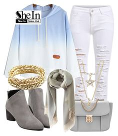 """SheIn"" by deedee-pekarik ❤ liked on Polyvore featuring women's clothing, women, female, woman, misses, juniors, Sweatshirt, shein and bluesweatshirt"