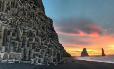 Another great shot of season 7 location Vík, Iceland. This time at sunset, you can really see the black sand. Punaluu Beach, The Places Youll Go, Places To Visit, Basalt Rock, Basalt Columns, Hawaii Volcanoes National Park, Running On The Beach, Black Sand, Beaches In The World