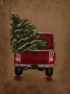 Do As Cross Stitch -------------Acrylic painting, red truck on canvas, painted red truck with Christmas tree, canvas with lights, by Debbie Tabora Christmas Tree Canvas, Christmas Tree Drawing, Christmas Paintings On Canvas, Christmas Wood, Christmas Signs, Christmas Pictures, Christmas Projects, Vintage Christmas, Christmas Ideas