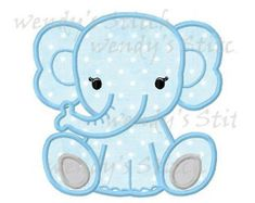 Elephant applique machine embroidery design by WendysStitch