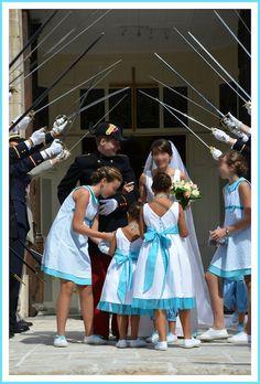Cortège d'enfants d'honneur turquoise