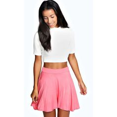 Boohoo Basics Selena Jersey Viscose Skater Skirt ($14) ❤ liked on Polyvore featuring skirts, coral, a-line skirt, white a line skirt, white skirt, white flared skirt and knee length a line skirt