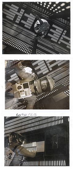 [Original works from the Stanley Kubrick Estate. Stanley Kubrick and Geoffrey Unsworth developed a system for calculating from the grey tones of b/w Polaroids the right lighting for filming 2001: A SPACE ODYSSEY.]
