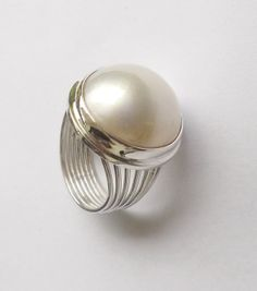 South sea mabe pearl ring Size 15 mm Excellent lustre - A grade Silver/white colour Set in solid 925 silver USA ring sizes 6 & 8 available Gems Jewelry, Pandora Jewelry, Bling Jewelry, Jewelery, Silver Jewelry, Jewelry Accessories, Silver Rings, Armani Jewellery, Silver Payal
