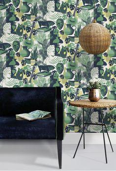 Mini Moderns Art Room wallpaper in coach emerald colourway at minimoderns.com