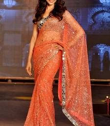 10d421cae8 Buy Deepika Padukone Orange Fancy Designer Stylish saree with blouse deepika -padukone-saree online