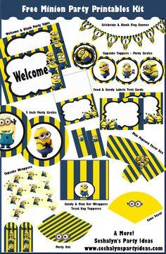 Kit de decoración para imprimir gratis para una fiesta de Los Minions