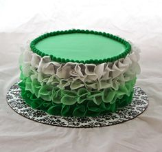 Green ombre ruffle cake