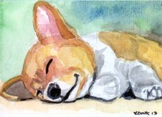 "Pembroke  Welsh Corgi ""Lil' Snooozer"" mini watercolor 3.5"" x 2.5"" collectible ACEO"