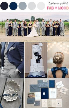 Add to favorites 1. Love these style combination! Gorgeous navy bridesmaids dresses and grey groomsmen's suits…To make different between GROOM & Groomsmen's suit, groom had...