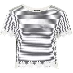 TOPSHOP Striped Daisy Trim Tee ($20) ❤ liked on Polyvore featuring tops, t-shirts, shirts, crop tops, navy blue, white stripes t shirt, white cotton shirt, white cotton t shirts, stripe shirt and lightweight t shirts