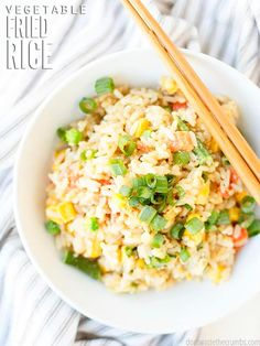 This quick and easy vegetable fried rice recipe is better than take out. It's restaurant style, but created at home with easy ingredients you already have at home. It comes together so fast and it's so filling. If you're craving real, authentic, homemade fried rice lately, this simple stir fried rice recipe will hit the spot! #vegetables #friedrice #vegetablefriedrice Vegetable Fried Rice, Veggie Stir Fry, Fried Vegetables, Vegetable Recipes, Veggies, Rice Recipes, Lunch Recipes, Real Food Recipes, Dinner Recipes