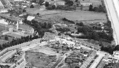 Inchicore Oblate church and Brassington's Mill ( centre picture ) Jamestown Avenue not yet built. Ireland Pictures, Historical Photos, Dublin, Old Photos, Old School, All Things, City Photo, Centre, Irish