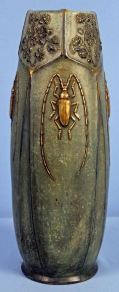 Amphora pottery vase with beetles, red Stellmacher-Teplitz mark, approximately 17 inches