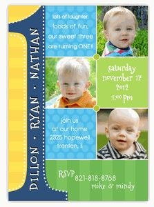 Order The Best Custom Birthday Invitations For Your Childrens Party Check Out Amys Card Creations Line Of Photo Themed Triplets