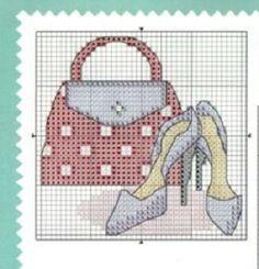 0 point de croix sac et chaussures - cross stitch bag and shoes