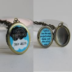 The Fault in our Stars with quote--locket w/ chain. $15.00, via Etsy. Seriously want this.