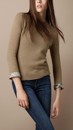 Burberry check cuff knit sweater