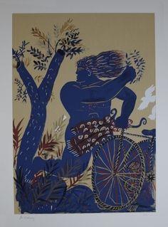 Alecos Fassianos, Greek expressionist, b.1935- Olympic Centennial