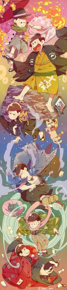 Osomatsu-san: Osomatsu, Karamatsu, Choromatsu, Ichimatsu, Jyushimatsu, Todomatsu